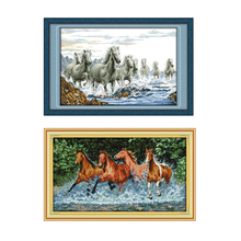 Joy Sunday Cross Stitch Kit Animal Pattern Horses Printed Fa