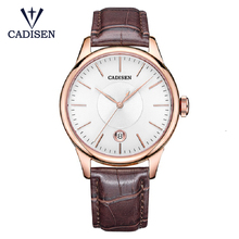 CADISEN 2019 Luxury Mens Automatic Watch Leather Mechanical Watch Military Business Leisure Business Waterproof Calendar Manly
