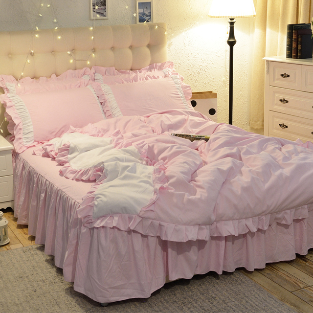 1.5/1.8/2.0m Home Bedroom Bedding Set Duvet Cover Pillow Cases Sheet Four Pieces Set Sweet Princess Style 1