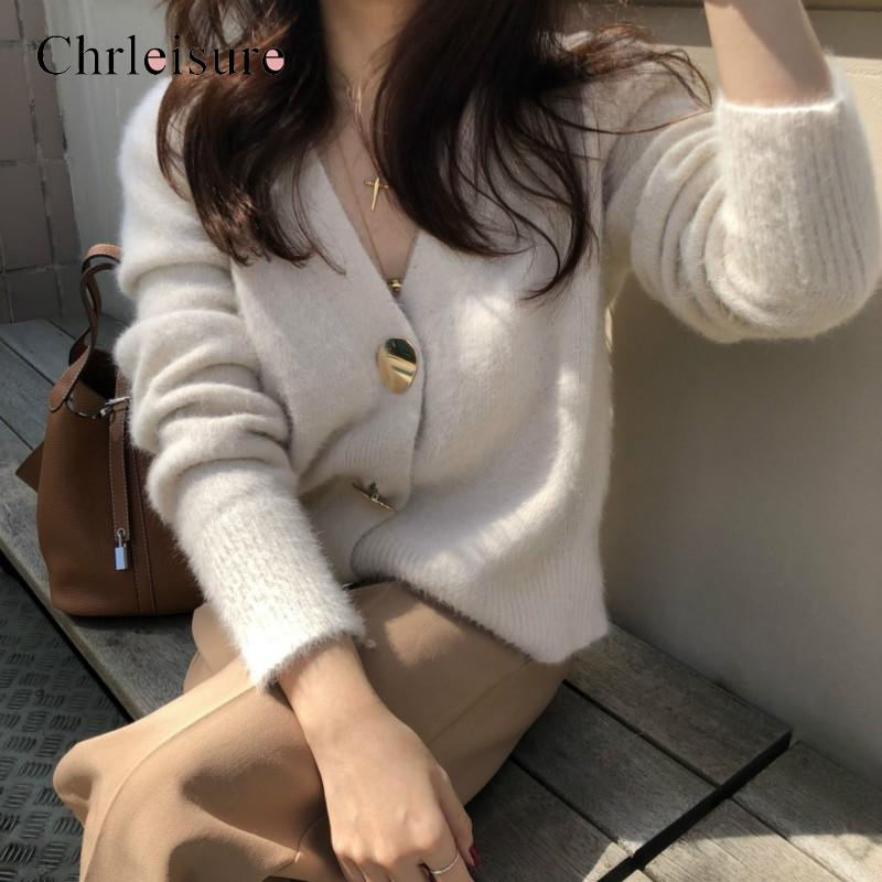 CHRLEISURE Women Cardigan Sweater Velvet Sweet Casual Warm Gold Button Single-breasted Women Autumn And Winter
