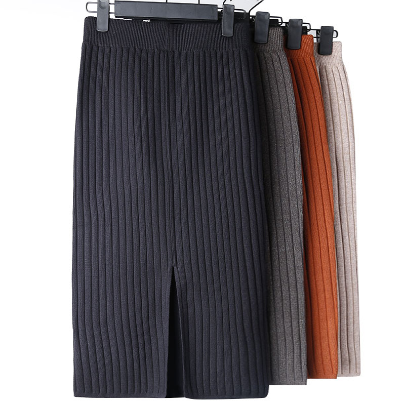 High Waist Women Knitted Skirt Spring Autumn Fashion Rib Skirt Elegant Midi Female Casual Skirt Pencil Elastic Band Women Skirts