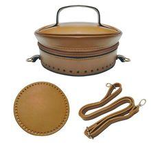 3Pcs/Set DIY Faux Leather Bucket Bag Pouch with Bottom Zipper Flip Cover Shoulder Strap Handmade Handbag Accessories faux leather 3 pieces bucket bag set