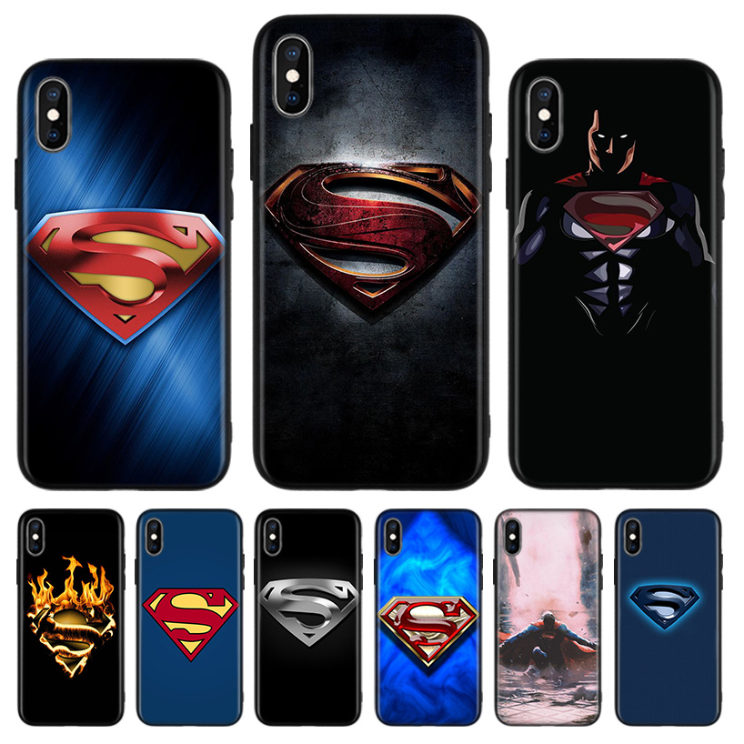 Marvel Superman Logo Black Back Cover Phone Case For Apple Iphone 11 Pro Xs Max Xr 7 8 6 6s Plus X 10 Ten 5 5s Se Coque Shell Half Wrapped Cases Aliexpress