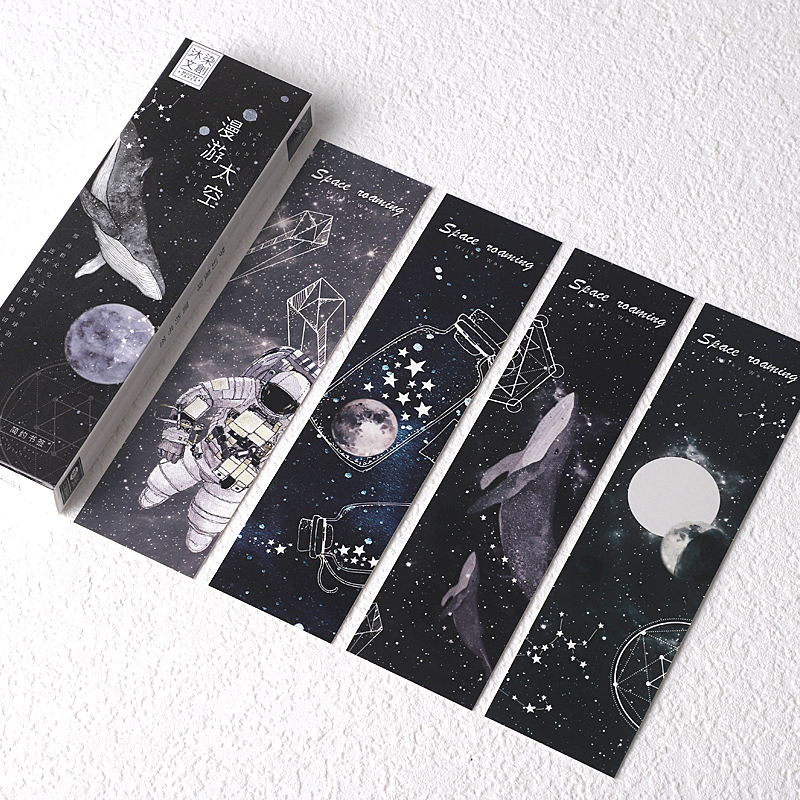 30 Pcs/Set Creative Space Walking Planet Paper Bookmark Cartoon Book Holder Message Card Gift Stationery