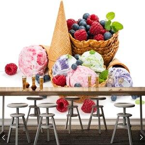 Пользовательские 3D обои, шары мороженое конус еда фрески для кухни столовой фон декоративные водонепроницаемые обои