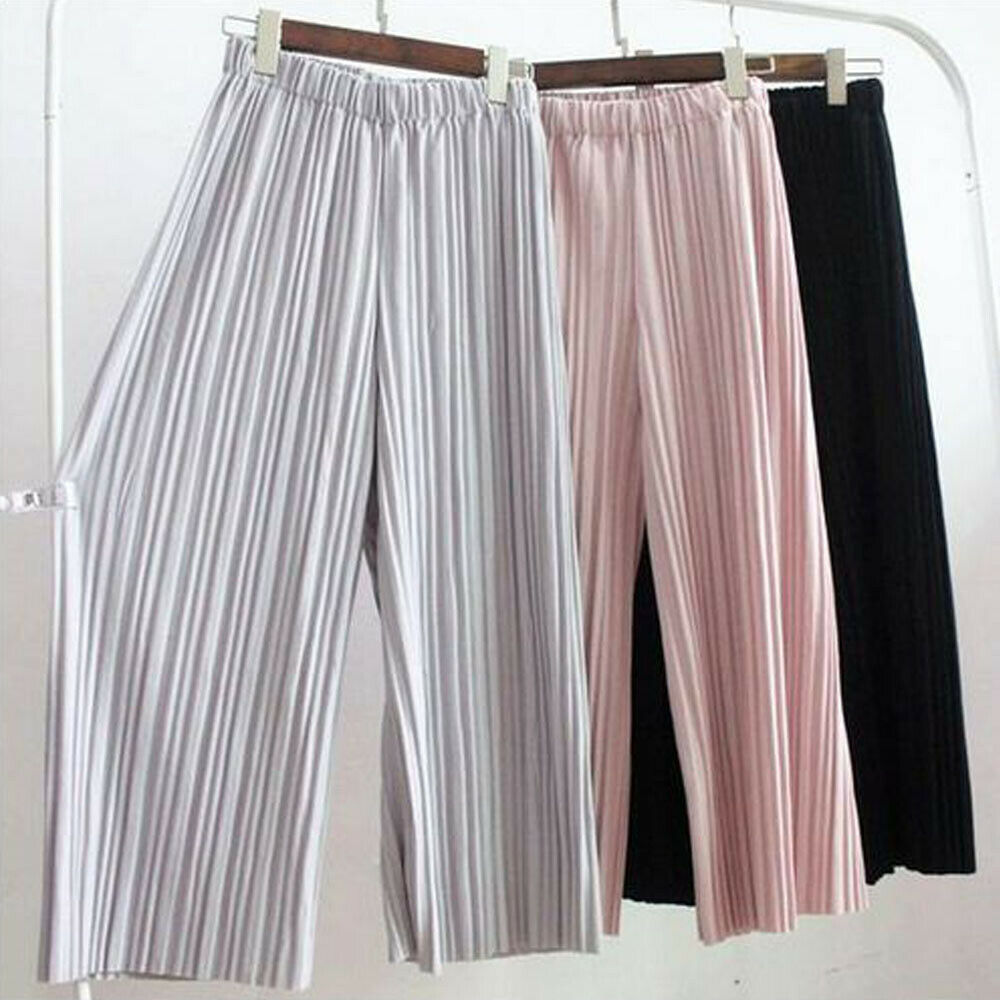 New Brand Summer Women Ladies Solid Pleated Chiffon Elastic Wide Leg Pants High Waist Casual Loose Culottes Trousers Holiday
