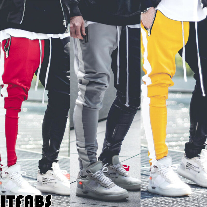 2019 Newest Fashion Men Sports Gym Pants Slim Fit Running Joggers Casual Long Trousers Sweatpants