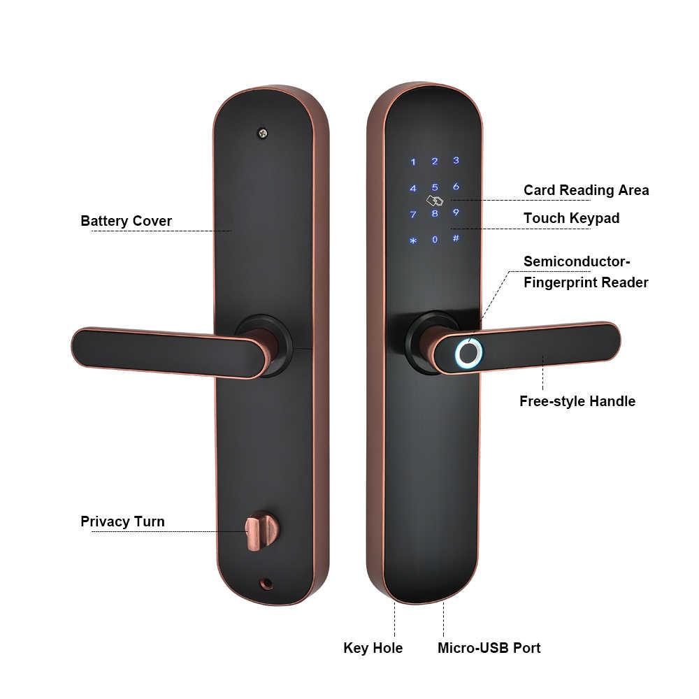Electronic Security สมาร์ทบลูทูธ App WiFi ดิจิตอลรหัส IC Card Biometric ลายนิ้วมือสำหรับ Home