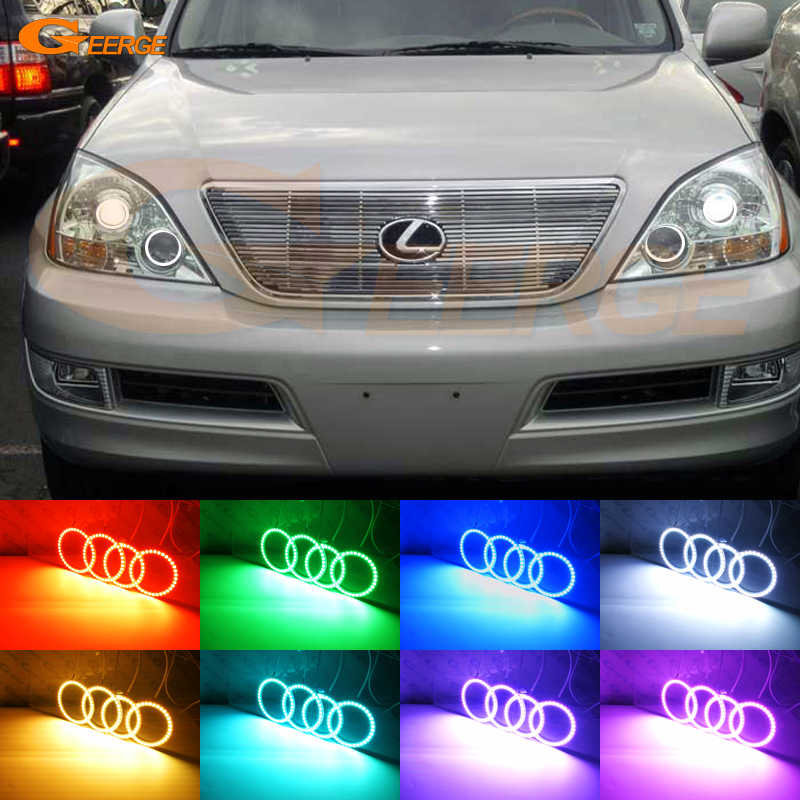 สำหรับLexus GX470 J120 2003 2004 2005 2006 2007 2008 2009 RF Remote Bluetooth APP Multi-สีRGB Led angel Eyesชุด