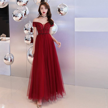 Sexy Wine Red Boat Neck Evening Dresses Elegant Noble  Bling Bling Sequins Lace Appliques Gown Party Prom Host Dress