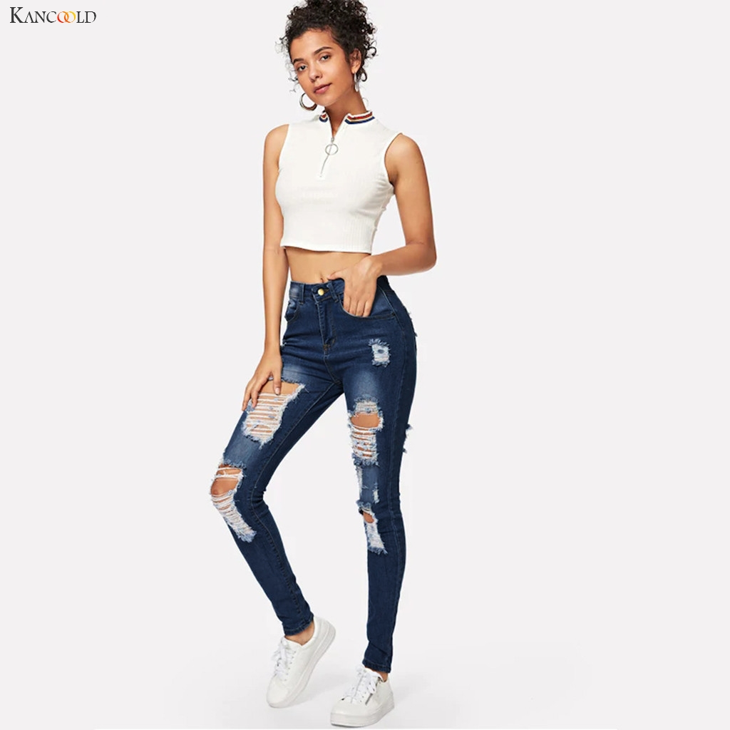 KANCOOLD Pants Women Fashion Hole Pocket Wild Slim Fit Tight Pencil Pants Skinny Zipper Mid Casual New Jeans Woman 2019Oct7