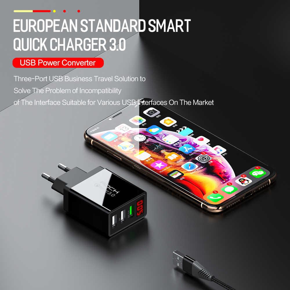 Chargeur USB de roche QC 3.0 30W affichage de LED Charge rapide téléphone adaptateur mural ue Turbo Charge rapide pour iPhone Xiaomi Samsung Huawei