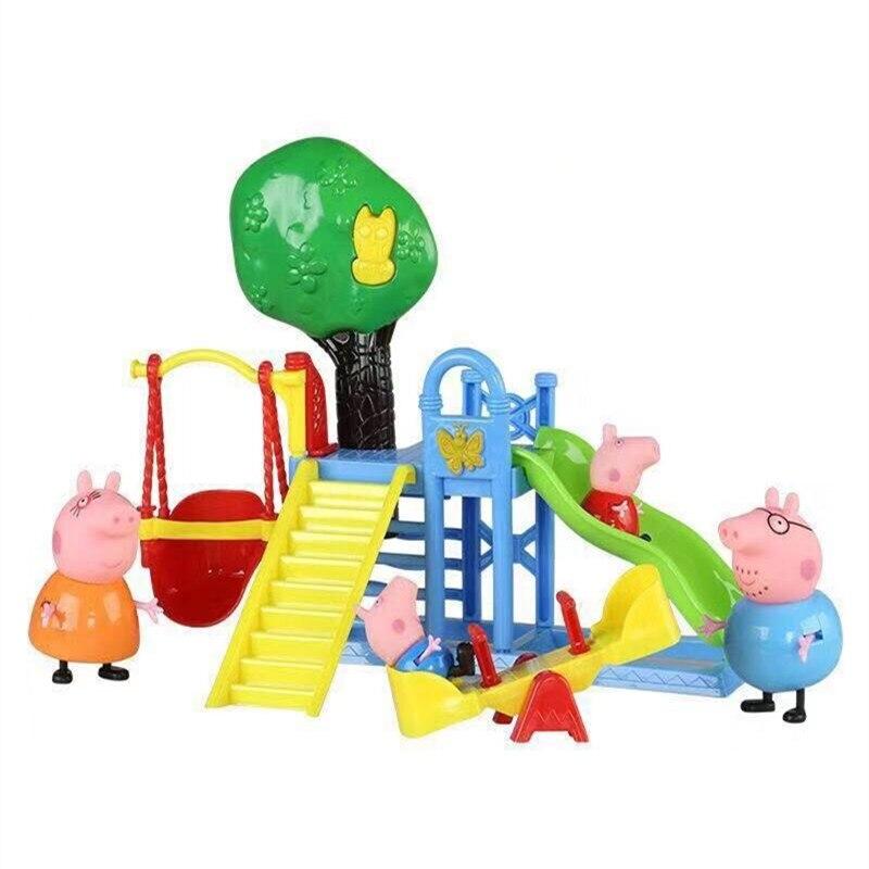 Peppa Pig Anime Kids Toys Fun Slide Park Family Pack Full Roles Doll  Action Figure Model Children Birthday Gifts