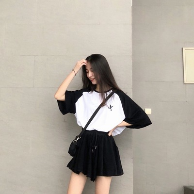 2019 New Style Summer Wear Western Style Slimming Shorts Set Sports Set Casual Two-Piece Set