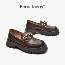 BeauToday Chunky Loafers Women Genuine Cow Leather Platform Shoes Round Toe Metal Chain Slip on Ladies Flats Handmade 27748