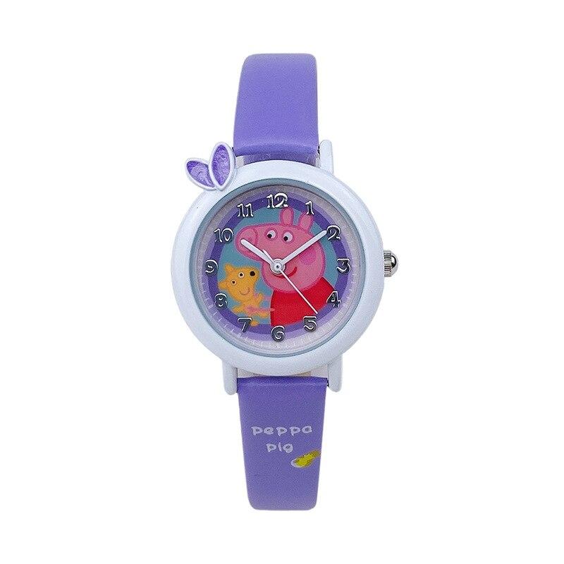 Peppa Pig Watch Girl Children's Toy Watch Leather Strap Children's Cute Cartoon Digital Watch Girls Clock Birthday Party Gift