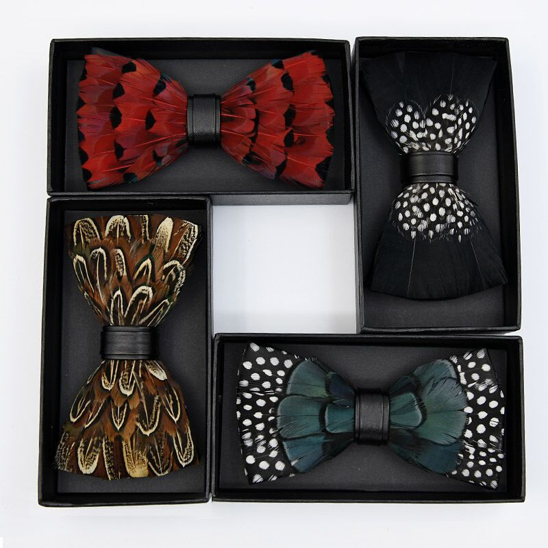 Luxury Feather Bow Tie And Tie Box Gift Mens Bowtie Handmade Novelty Fashion Wedding Gifts For Guests Custom Tie