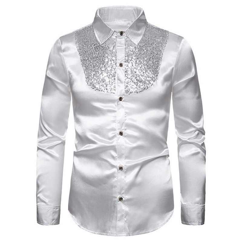 2019 男性の秋ゴージャスなスパンコールシルクサテンシャツヘンリー襟パッチワークパーティーシャツカジュアル男性の結婚式新郎ドレスシャツ