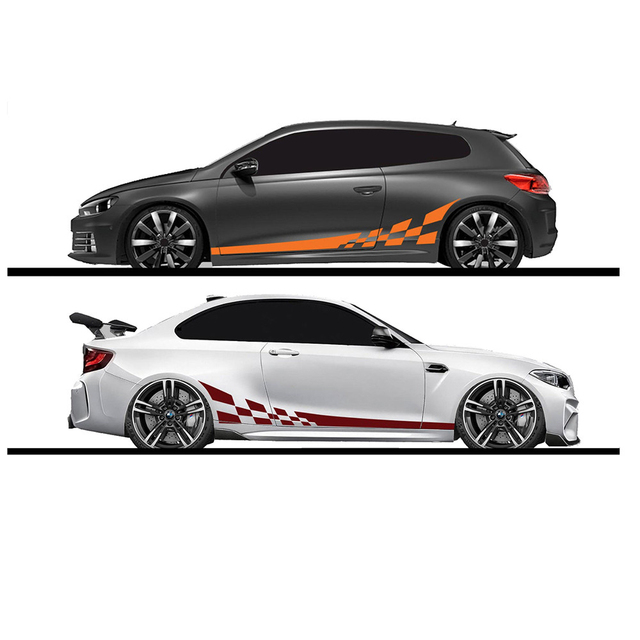 2pc Lot 220x25cm Car Stickers Both Side Racing Car Stickers Camouflage Stripes Auto Products Car Wrap Vinyl Film Car Accessories