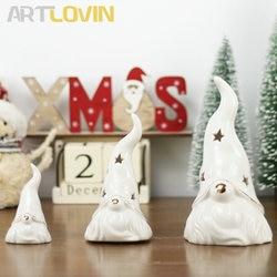 Nordic White Christrmas Decor Santa Claus Ceramic Figurines For Home Decoration Hollow Porcelain Desk Night Ornament New Arrival