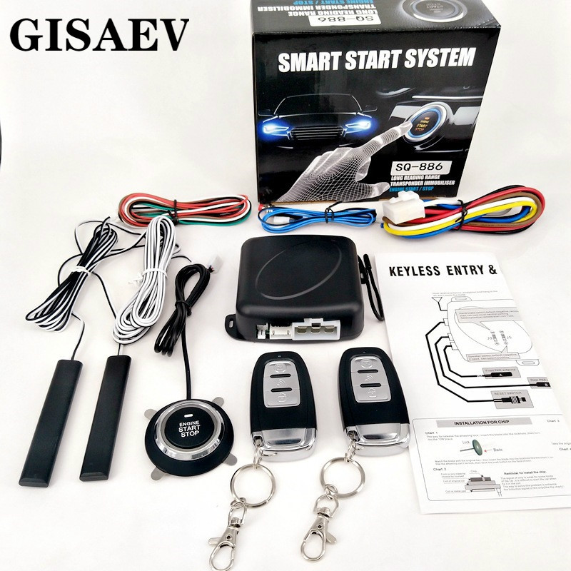 GISAEV Universal Automatic Keyless Entry System Car Start and Stop Buttons  Keychain Kit Central Door Lock with Remote Control