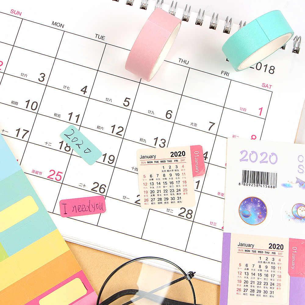 2 pièces/paquet mignon 2020 ans calendrier autocollants cahier planificateur décoratif autocollant Mini calendrier étiquette Index signet papeterie
