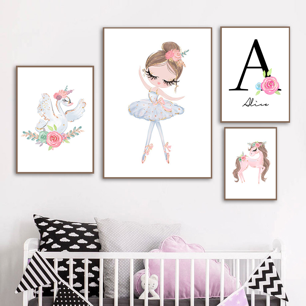 Ballet Girl Canvas Painting Baby Poster Custom Name Art Posters And Prints Swan Unicorn Wall Pictures For Baby Girl Room Decor
