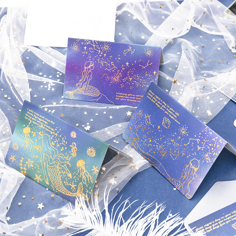 Beautiful Mermaid Starry Sky Transparent Golden Envelope Message Card Letter Greeting Card Stationary Storage Paper Gift