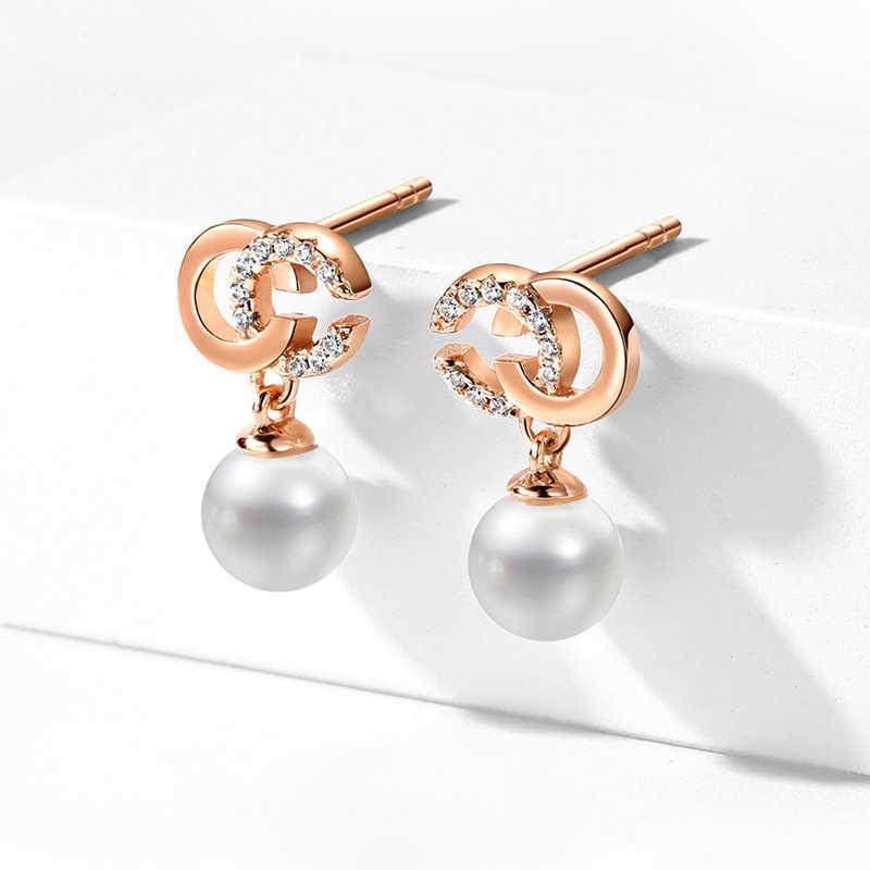 Luksusowe kolczyki ślubne dla kobiet Rose złota błyszcząca perły spadek Chic list dynda kolczyki Bijoux Femme 2019 koreański mody