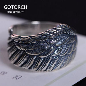 Oryginalne 925 Sterling Silver Biker Rings dla mężczyzn i kobiet Vintage Thai Silver Feather Rings Resizable biżuteria punkowa