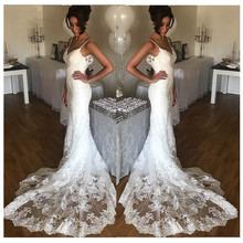 2020 New Sleeveless Lace V-neck Wedding Dresses Court Train Backless Sleeveless Mermaid Wedding Gowns Casamento Custom Made long white mermaid v neck open back lace court train sexy vintage formal wedding dresses fashion wedding gowns custom made