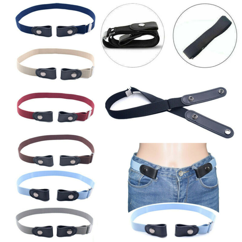 Women Buckle-Free Elastic Belts Invisible Belt No Bulge Hassle Band Fashion Casual Adjustable Button Canvas Belt