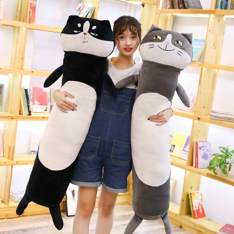 90/140cm Kawaii Plush Cat Toys Stuffed Animal Dolls Soft Long Cartoon Office Lunch Break Nap Sleeping Pillows Gift Doll For Kids