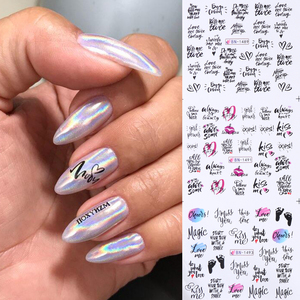12pc Letter Sliders For Nail Art Decorations Water Stickers Decals Love Sexy Lip Tattoo Foil Wraps Manicure Set LABN1489-1500-1
