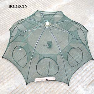 8 Hole Fishing Net Folded Portable Hexagon Fish Network Casting Nets Crayfish Shrimp Catcher Tank Trap China Cages Mesh Cheap(China)