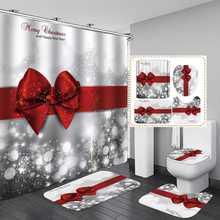 Рождественский Красный бантик с принтом 180x180 см занавеска для душа пьедестал ковер крышка унитаза коврик нескользящий коврик для ванной комплект ванной комнаты