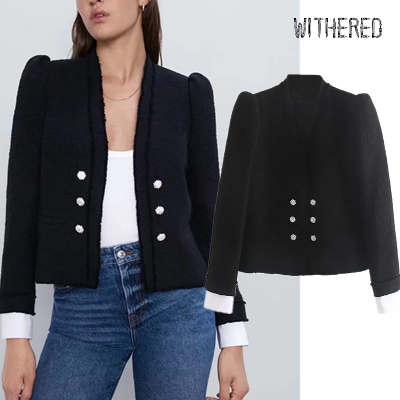 Withered England Office Lady Puff Sleeve Double Breasted Blazer Feminino Blazer Women Blazer Mujer 2019 Women Blazers And Jacket