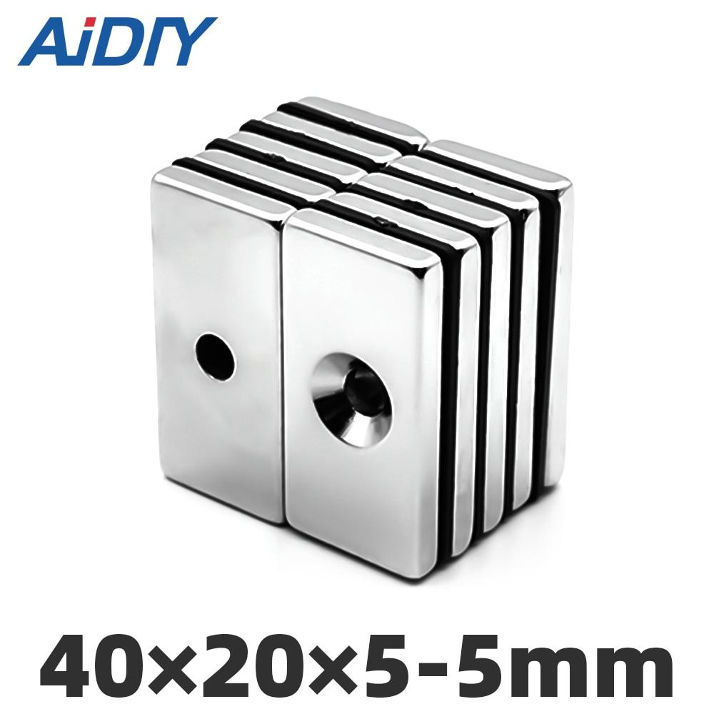 1/3Pcs 40 x 20 5mm Single Hole Countersunk Neodymium Magnet Rectangular Block Rare Earth Magnets Quader * 5 -