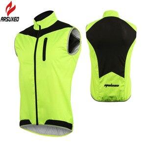 Image 2 - Arsuxeo男性女性サイクリングベスト防風防水ランニングベストmtbバイク自転車反射衣類ノースリーブサイクリングジャケット