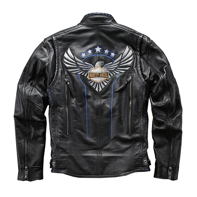 98213 Read Description ! Asian Size Super Quality Men's Genuine Cow Leather Coat Cowhide Leather Rider Jacket
