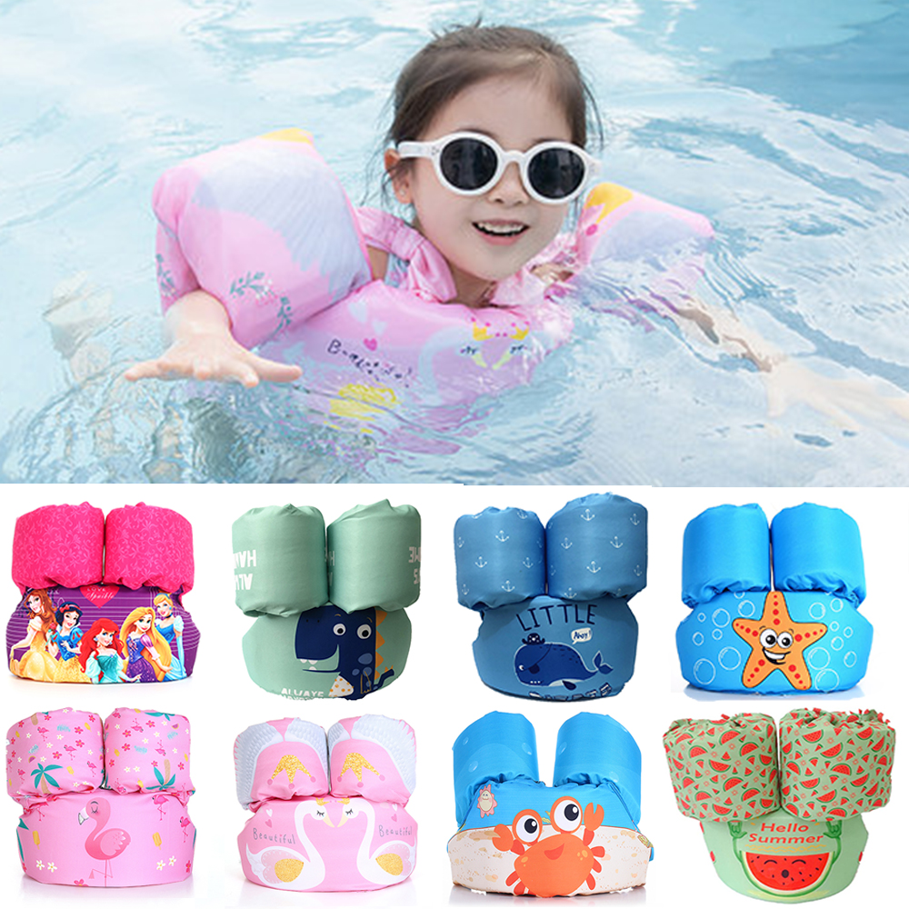 2-6 Years Old Cute Cartoon Baby Swim Rings Foam Arm Ring Buoyancy Life Jacket Vest Puddle Jumper Children's Swim Life Jackets