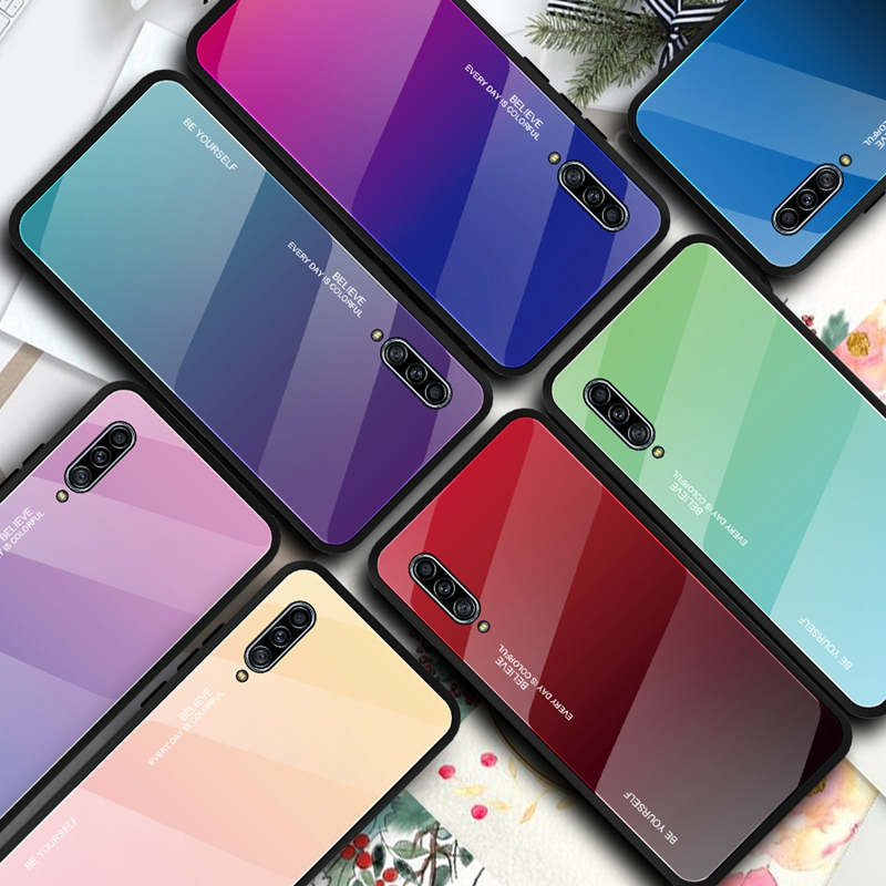 Tempered <font><b>Glass</b></font> <font><b>Case</b></font> For <font><b>Samsung</b></font> Galaxy A30S A50S A30 <font><b>A40</b></font> A50 A60 A70 A80 A90 5G Note 10 Pro S10 S11 Plus E Gradient Color Cover image