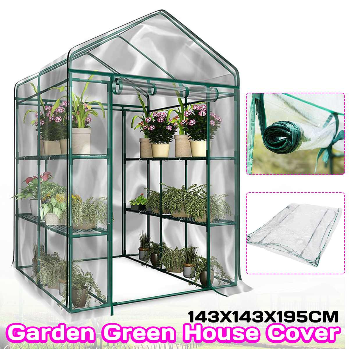 3-Tier Portable Greenhouse 6 Shelves PVC Cover Garden Cover Plants Flower House 143X143X195cm Corrosion-resistant Waterproof