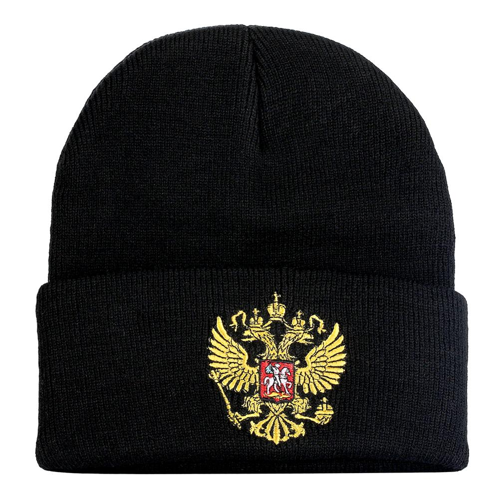 2019 Hip-pop Winter Cool   Beanie   Warm Hats Russian National Gorras Double-headed Embroidery Eagle Knitted Fashion Trendy Emblem