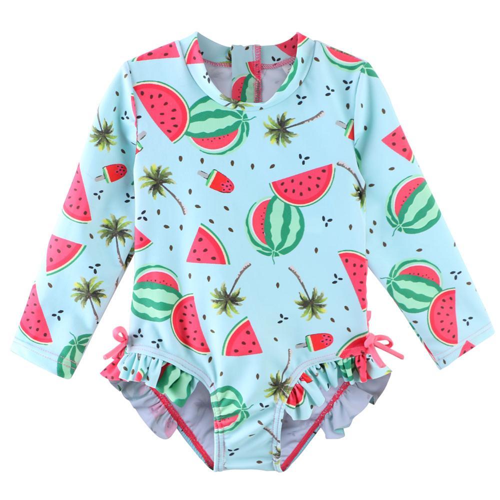 BAOHULU Cute Baby Girls Swimsuit Long Sleeves One Piece Swimwear for Kids Infant Bathing Suit UPF 50 Watermelon