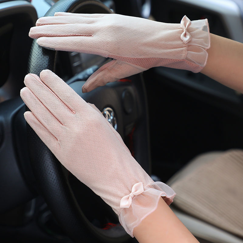 Women's Mid-long Summer Cotton Thin Gloves Autumn Slip-proof Touch Screen Short Style Sunscreen Sleeve Driving Gloves