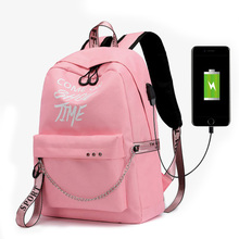 BELLELIFE USB Charge Large Capacity Backpack for Teenager Nylon Canvas Ribbons Backpacks Women Letter Print School Bag Mochila