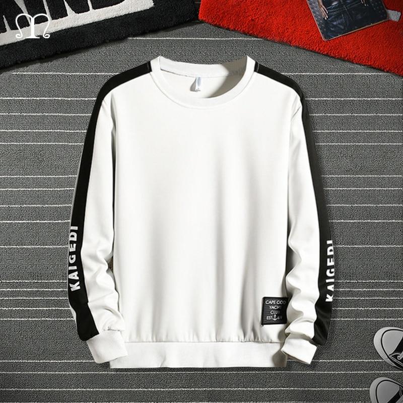 Men's Hoodies Harajuku Fashion White Black Sweatshirt Male Hip Hop Japanese Streetwear Letter Patchwork Long Sleeve Pullover Top