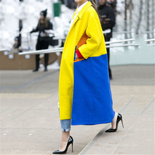 Woolen Long Coat 2019 Autumn Winter Long Jacket Outwear For Women's Fashion Lapel Color Blocking Plain Windproof female Coats vyu kids girls overcoat new autumn winter 2018 woolen coat lapel thickening windproof warm long outwear teens coats