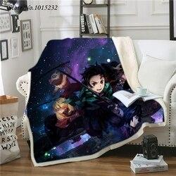 Demônio slayer kimetsu não yaib anime 3d impressão jogar pelúcia sherpa cobertor fina colcha sofá cadeira cama abastecimento adultos crianças 01
